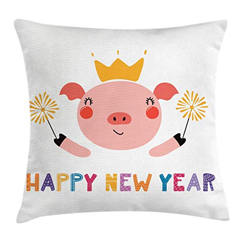 MLNHY Pig Throw Pillow Cushion Cover, Happy New Year Calligraphy with Animal in Crown Red Cheeks Happy and Festive Cartoon, Decorative Square Accent Pillow Case, Multicolor,12 X 12 Inches (In Halloween-partys Jersey New)