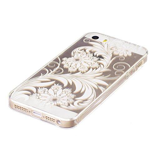 Pour iPhone 5 5S 5G / iPhone SE Case Cover, Ecoway TPU Clear Soft Silicone motifs peints Housse en silicone Housse de protection Housse pour téléphone portable pour iPhone 5 5S 5G / iPhone SE - black  fleurs blanches