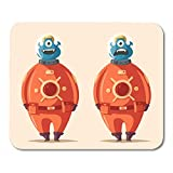 Mouse Pads Character Colorful Space Friendly Alien Cartoon Helmet Cosmonaut Mouse Pad for notebooks,Desktop Computers mats 7.08 (L)x 8.66 (W) inch Office Supplies