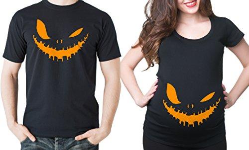 Silk Road Tees Halloween Matching-Paar-T-Shirts Halloween Lächeln Shirts Schwangerschafts-T-Shirts Halloween-Kostüm-Jersey Top Frauen Men XXXL - Women XL Schwarz (Halloween-kostüm-mutterschafts-t-shirt)