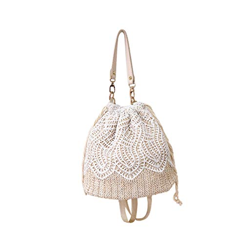tasche Schnalle mädchen umhängetasche Blume Stroh Eimer Tasche sackleinen Platz Tasche für die Reise ()