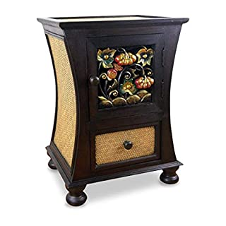 livasia Rattan drawer, curved sides with unique thai carvings, asian bedside table, handmade in Thailand, chest of drawers, made from wood and rattan