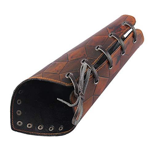 IPOTCH Vintage Lederner Bogenschießen Armschutz Langbogen Schießen Armschiene Bogenschießen Schutzausrüstung Gauntlet Breites Armband - Braun -