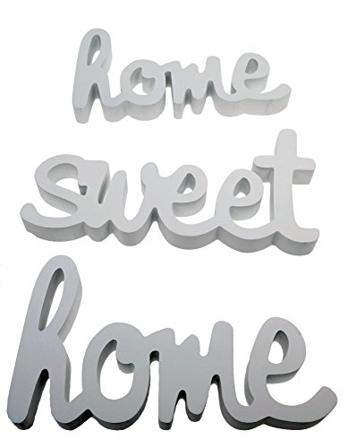 Rotulo Decorativo Home Sweet Home Blanco Tatuaje de Pared 3 Piezas