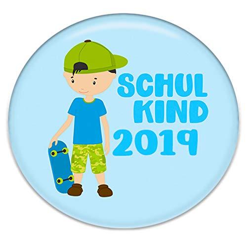 Polarkind Button Pin Anstecker Schulkind 2019 Geschenk zum Schulanfang Junge 38mm Handmade