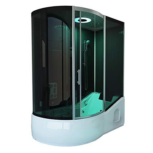 Home Deluxe - Duschtempel - All IN 4in1 schwarz Links - Maße: 170 x 90 x 220 cm - inkl. Dampfsauna und komplettem Zubehör