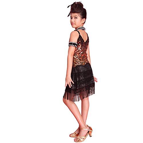 Brightup Sequined Latein SalsaTassel Tanzkleid Kinder Partei Dancewear (Dance Kostüme Kleid Pailletten)