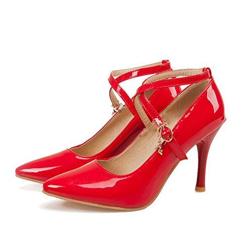 Rouge Pu Boucle Pointu Légeres Haut Femme à Couleur VogueZone009 Cuir Unie Chaussures Talon tEwq7nH7x