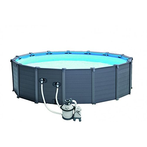 Intex Graphite Gray panel Pool Set, Azul/Gris, 478 x 478 x 124 cm, 16,81 L, 28382 GN