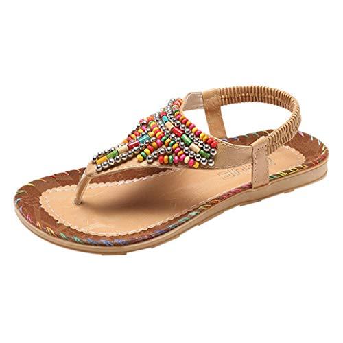 Xmiral Sandals Damen Frau String Bead Casual Strand Schuhe Gummiband Gummisohle rutschfest Barfuß Schuhe Badesandale(Khaki,40 EU)