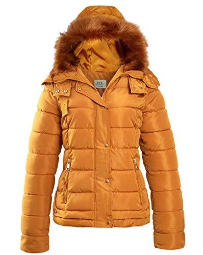 Womens Faux Fur Padded Coat Hooded Parka Mustard Size 8 10 12 14 16