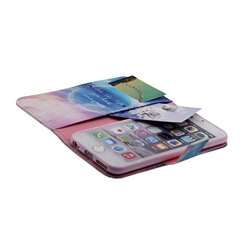 """Flip Libro Portafoglio Borsa Apple iPhone 6S Plus / 6 Plus 5.5"""" Custodia Protettiva ( Rosa ) Antiurto, PU Pelle Luce Case Cover, Bella Apparenza Originale design Modello Serie Stile per le Ragazze Blu-1"""