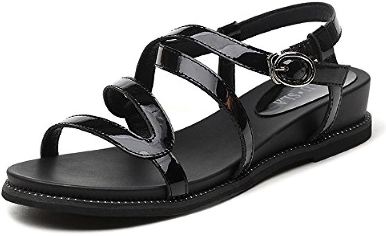 LISABOBO Talón plano femenino Estudiante de verano moda casual zapatos de mujer cuñas de verano/Elegante cómoda...