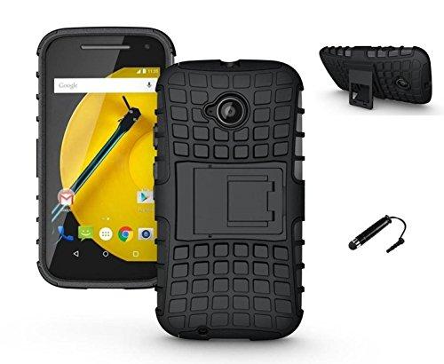 TCA Kick Stand Hard Dual Layer Rugged Armor Hybrid Bumper Back Case Cover For Motorola Moto E 2nd Gen E2 (3G & 4G) - Black With Mini Stylus & Eject Pin