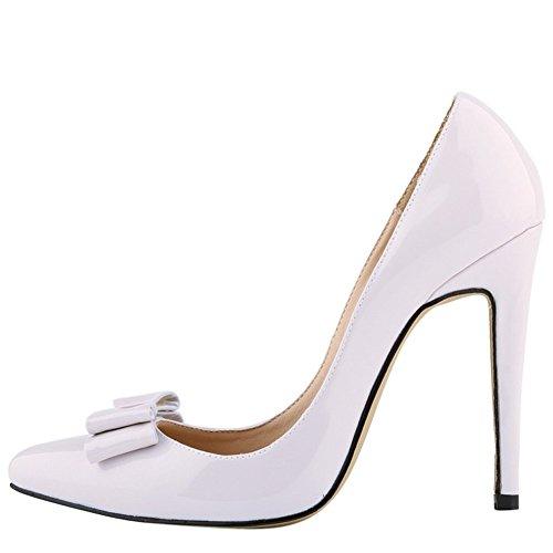 Ochenta Da Di Donna Con Stiletto Pelle Bianco Verniciata Scarpe Sera Matrimonio Messo Colori Alti Diversi Pattini xrwxqRA