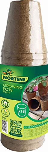 Nortene 18 Pots pour semis Growing Pots- 100% biodégradables - D 8 cm