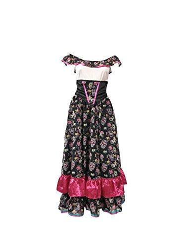 Tag der Toten Outfit - Enthält mexikanischen Senorita Kleid, Schleier und lange schwarze Handschuhe - Steampunk Kostüm für Halloween oder Parades - hochwertige Materialien - UK Größen 8-10 (Women:36, Long ()