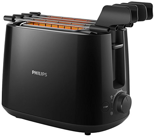 Philips Daily Collection hd2583/908slice (S) 600W schwarz (8Slice Toaster-(S), Schwarz, Kunststoff, Knöpfe, Rotation, China, 600W)