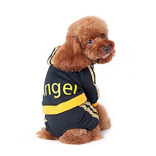 Damart Herbst-Winter-ANGEL Zeichen Muster Haustier Hund Kostüme Welpe Pullover Overall Mantel-Kleidung (schwarz, XXL)