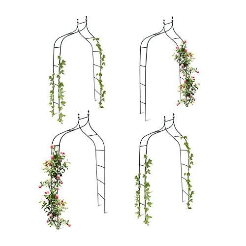 4er Set Rankbogen Metall geschwungen 240 cm, royaler Rosenbogen mit Spitze, Rankhilfe und Gartendeko für Draußen, grün