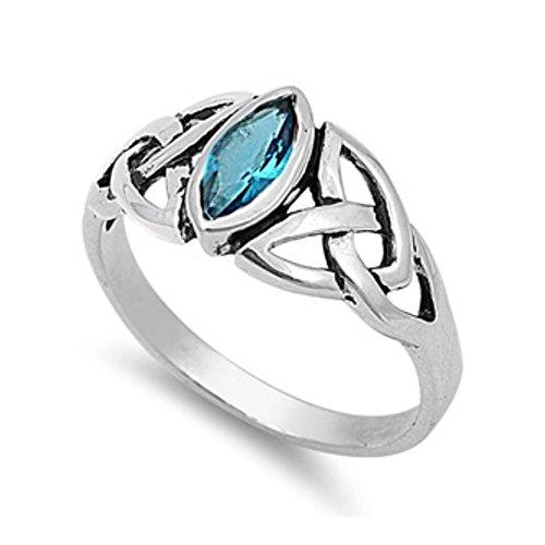 Ring aus Sterlingsilber mit Zirkonia - Keltisches Design (Ring Blau Stein Gold 14k Für Männer)