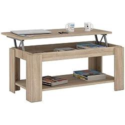 Habitdesign Table basse relevable avec porte-revues intégré, couleur chêne canadien, 102x 50x 43/54cm de hauteur 001639F