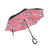 MUMIMI Sweet Unicorns Reverse Umbrella Inverted Double Layer Windproof UV Protection Reverse Folding Umbrellas Inverted Umbrella Travel Umbrella with C Shaped Handle