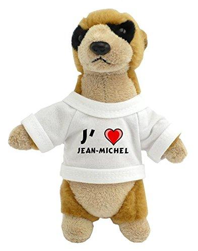 Peluche suricate personnalisé avec un T-shirt J'aime Jean-Michel (Noms/Prénoms)