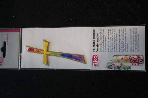 "efco ""Kreuz Wachs Dekoration, Rainbow, 110 x 45 mm"