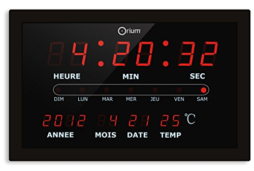 Orium 11666 Horloge Calendar à LED Plastique/Verre Noir/Rouge 29,8 x 4 x 18,8 cm