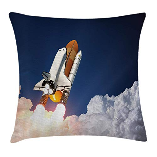 DPASIi Outer Space Throw Pillow Cushion Cover, Space Rocket Lifting Through Clouds Blast Explore The Galaxy ISS Photo, Decorative Square Accent Pillow Case,White Blue Orange 20x20inch -