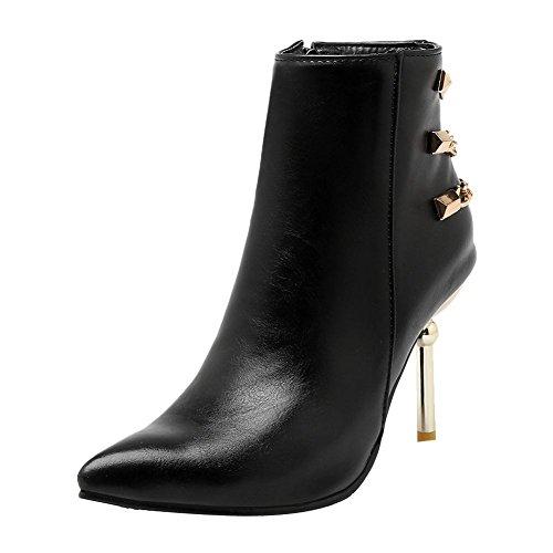Mee Shoes Damen Stiletto Reißverschluss spitz kurzschaft Stiefel Schwarz