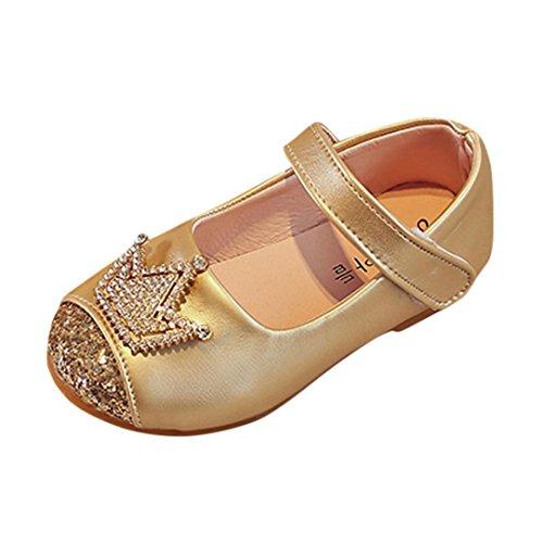K-youth® Sandalias de Vestir Niña Moda Zapatos Bebe Niña Verano Zapatos de Cuero Niña Corona Zapatos Planos Zapatos de Princesa Chicas Zapatos de Baile Para Bautizo Cumpleaños Fiesta (29, Dorado)