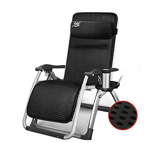 XUERUI Klappstühle Sonne Liege Stuhl Recliner Bett Zurücklehnen Sitz Falten Schwere 1 Seite Tablett Getränk Telefon Halter Möbel Stühle (Color : Black) (Getränke-halter Für Stuhl)