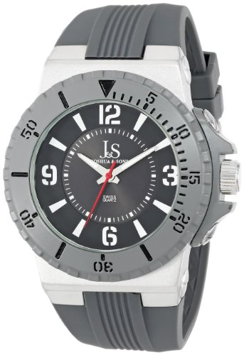 Joshua & Sons Men's JS-38-GY Bold Swiss Quartz Silicon Strap Watch
