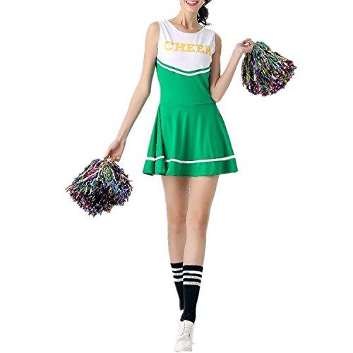 fadirew Damen Cheerleader Kostüm Outfit College Kostüm Sports Musical High School Girl Uniform Party Halloween-Kostüm Outfit–6Farben M (Für College Kostüme Halloween Party)