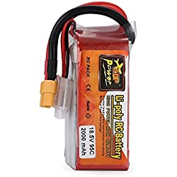 fengwen66 ZOP Power 18.5V 2000mAh 95C 5S 1P Lipo Battery XT60 Plug for RC Drone Model(Red&Silver)