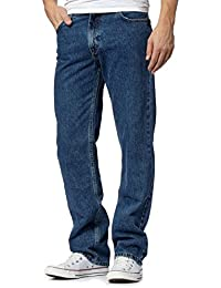 ShopOnline® Mens Straight Leg Heavy Duty 100% Cotton Jeans Plain Denim Wash Stretch Fit Boys Jean Casual Classic Trouser Zip Fly Belt Loop Pants Pockets Work Wear Size 30-50