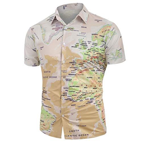 JYJM Männer Casual Bluse World Map Print mit Knopf Shirt Revers Freizeit Sommer T-Shirt Mode Dünn und Leicht Atmungsaktiv Strandhemd Freizeitkleidung