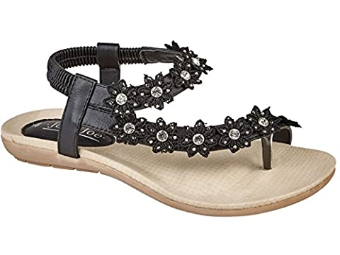 Ladies Andalucia Jo & Joe Faux Leather Toe Post Sling Back Flower Fashion Flat Diamante Flip Flop Sandals Size 3-8 (UK 6,