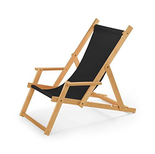 Chaise longue de jardin en bois, Transat, Chaise longue relax de plage, chaise longue avec accoudoirs. noir