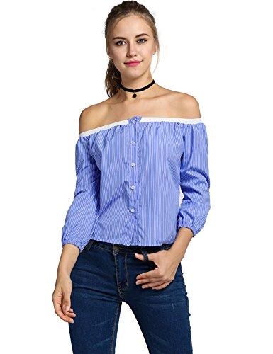 ZEARO Damen Casual gestreift T-shirt Top Oberteil Bluse Hemd Shirt Blau