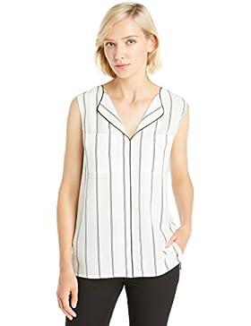 LILYSILK Camisa Mujer de Seda Raya Vertical Cuello Solapa - 100% Seda Natural de 18MM