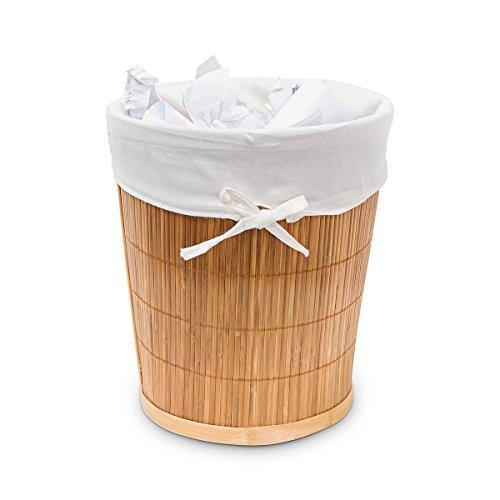Relaxdays Papierkorb Bambus rund HBT ca. 29 x 25,5 x 25,5 cm Bambus-Eimer mit herausnehmbarer Stoffeinlage für Büro und Arbeitszimmer, Leichter und handlicher Aufbewahrungskorb für zu Hause, Natur