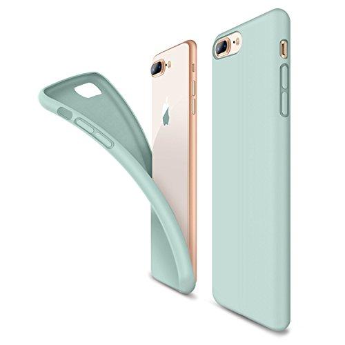iiPhone 8 Plus Hülle, Silikon Gel Gummi Koffer Weich HandyHülle mit Microfaser Tuch Sleek Skin Grip leichten Shockproof Schutz Perfekte Passform für iPhone 8 Plus & iPhone 8 (iPhone8, Mint Green)