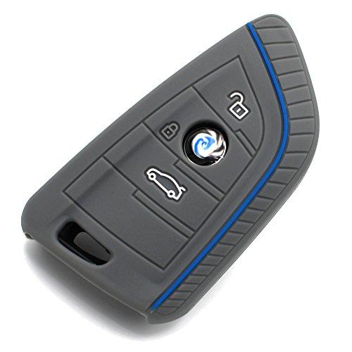 Schlüssel Hülle BD für 3 Tasten Auto Schlüssel Silikon Cover von Finest-Folia (Aschgrau Blau)