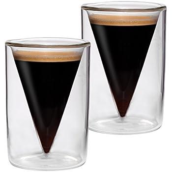 2er-Set 65ml doppelwandige Espresso- und Schnapsgläser im Spitzglasdesign mit Schwebe-Effekt, ideal für Espresso, Schnaps, Likör und Grappa, Spikey von Feelino