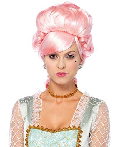 Horror-Shop Patellfarbene Marie Antoinette Perücke im Rokoko Style Marie Antoinette Make-up