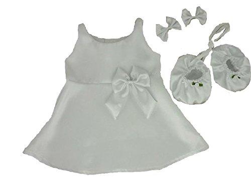 Baue Dein Bears Kleiderschrank 15Zoll Kleider passen Bj Bär Satin Schleifen Kleid Schuhe (weiß)