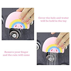 Soft Watering Bath Toys for Kids,[DEMEDO] Bathtub & Swimming Pool Toys Gift Set, Baby Hair Wash Tool, Pack of 4 (Rain, Cloud, Rainbow, Thunder Cloud)